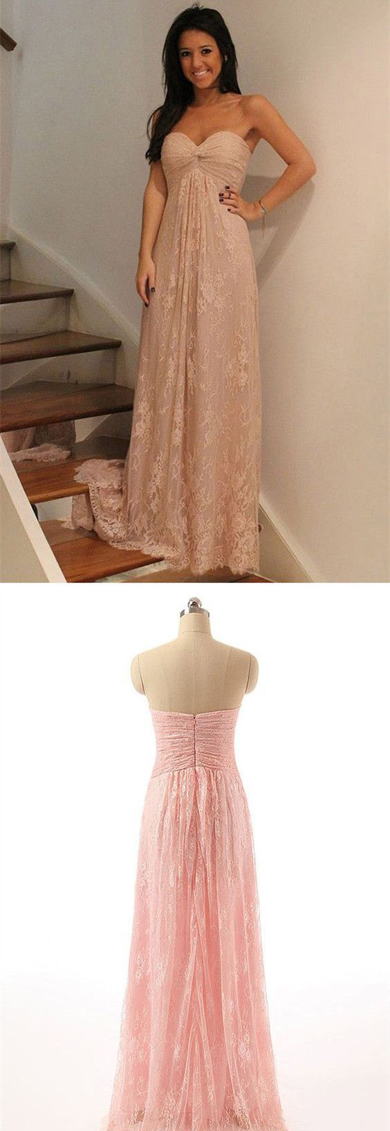 Strapless prom dress pink party dress lace prom dress for teens in