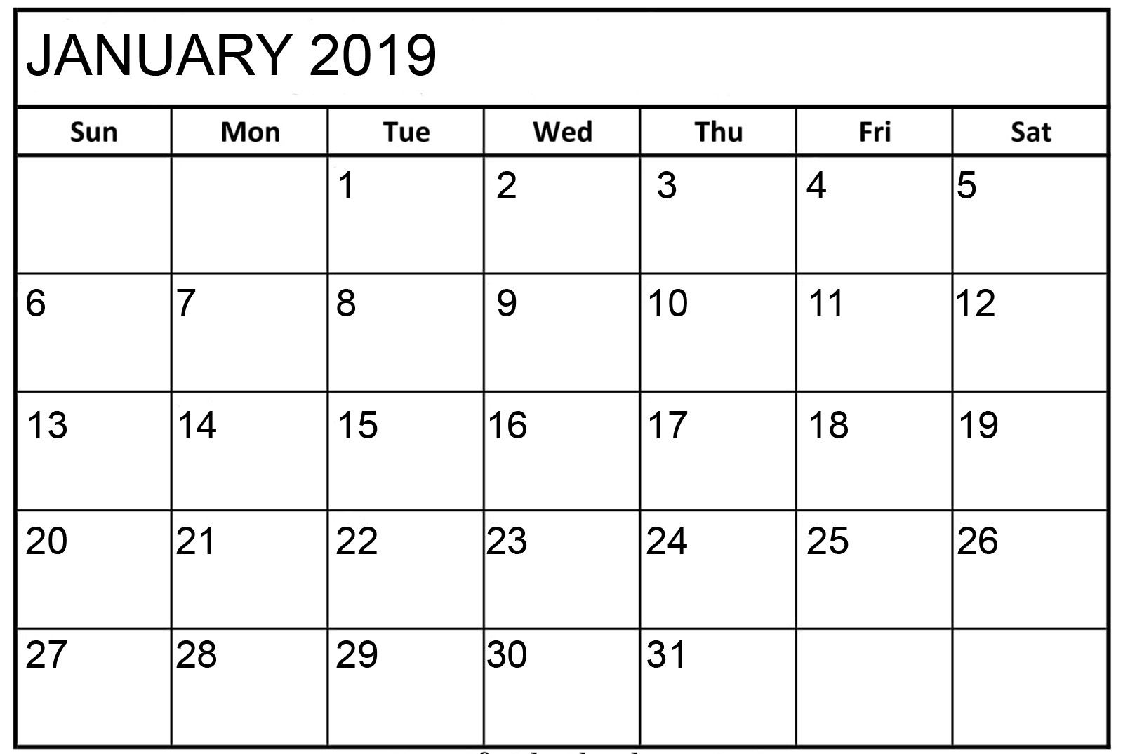 Blank Calendar January Free Download