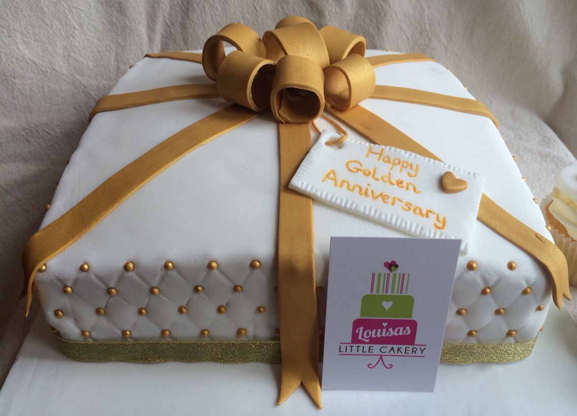 Golden Wedding Anniversary Present Cake 50th Wedding Anniversary Wedding Anniversary Presents Golden Anniversary