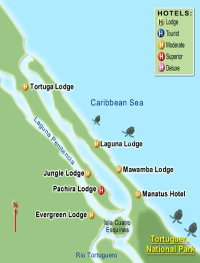 Some hotel locations in Tortuguer National Park on the Caribbean