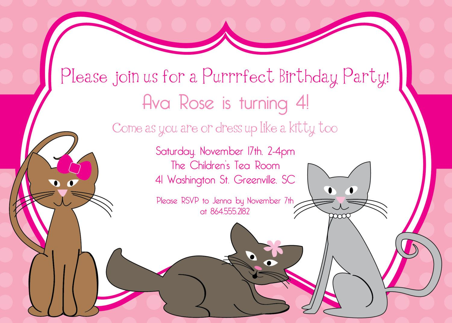 Printable Kitty Cat Birthday Invitation, Kitten, Kitties, Pink, Polka Dots, Purrrfect, Girl, Girlie, Girly,  DIY digital file. $12.50, via Etsy.