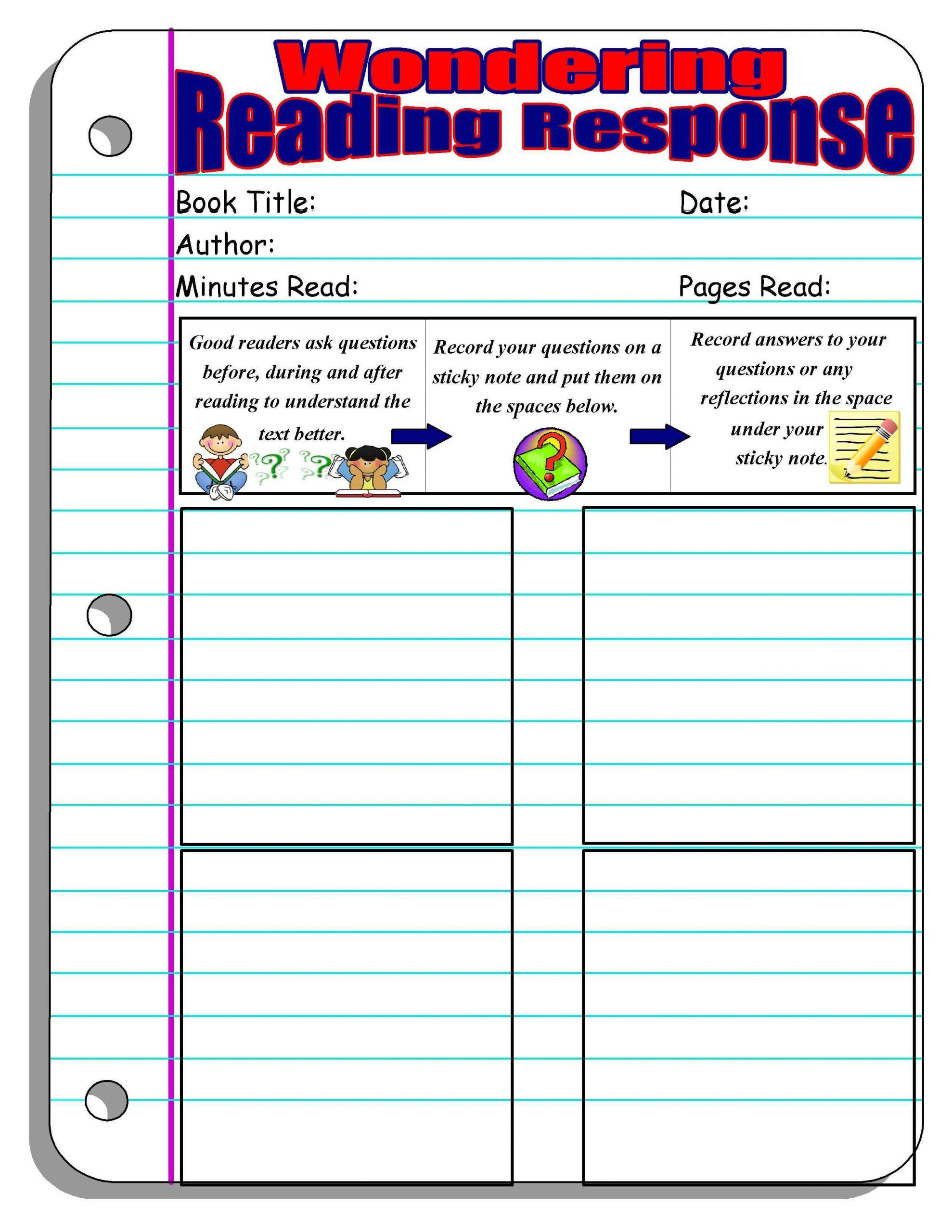 4th Grade Reading Response Worksheets Reading Response Forms And Graphic Organizers Reading Response Reading Response Worksheets Reading Worksheets [ 2560 x 1978 Pixel ]
