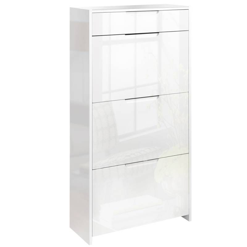 Shoe Cabinet Storage Rack In High Gloss White