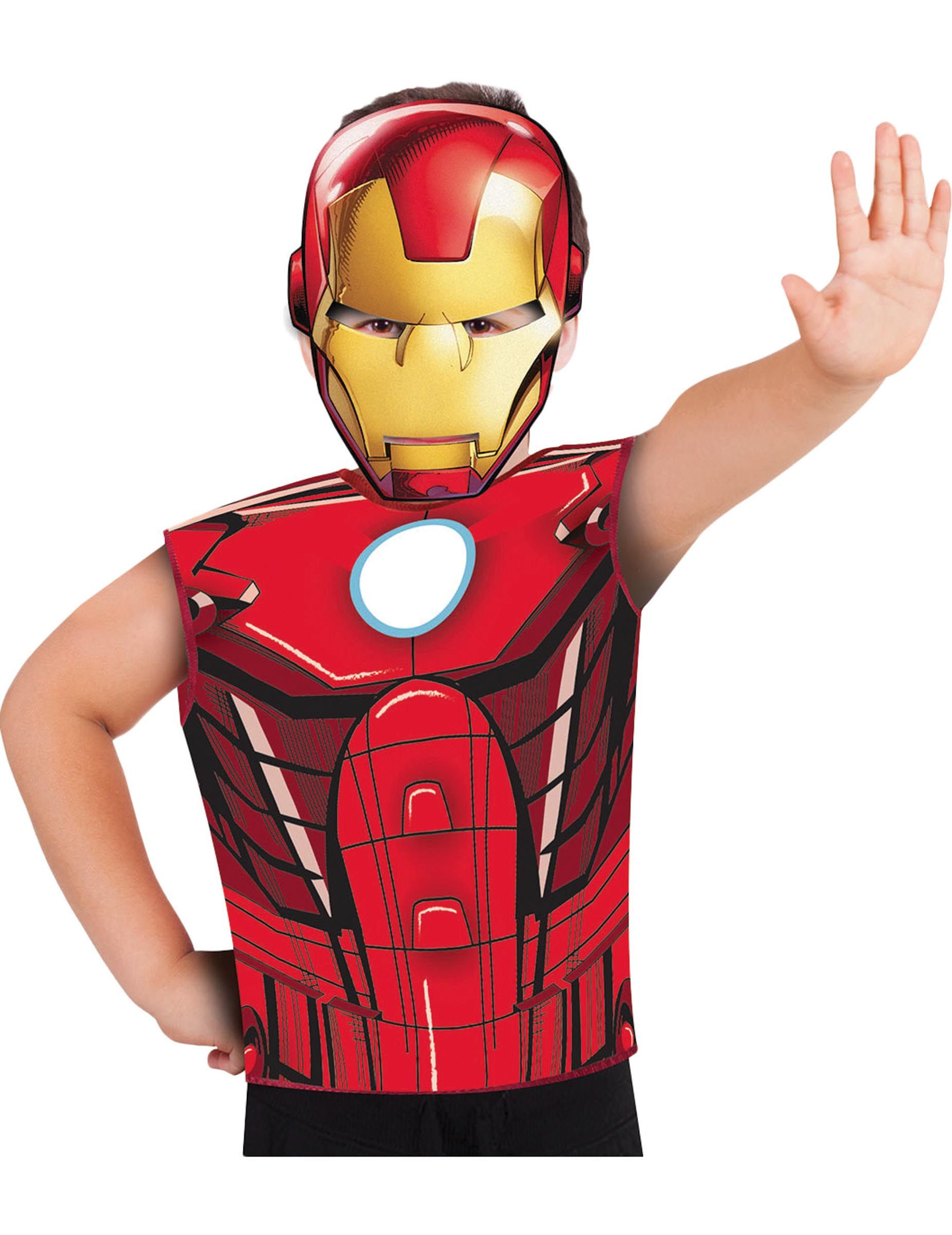 Iron Man Kostum Set Fur Kinder Mit Shirt Und Maske Gunstige Faschings Kostume Bei Karneval Megastore Mask For Kids Cardboard Mask Iron Man