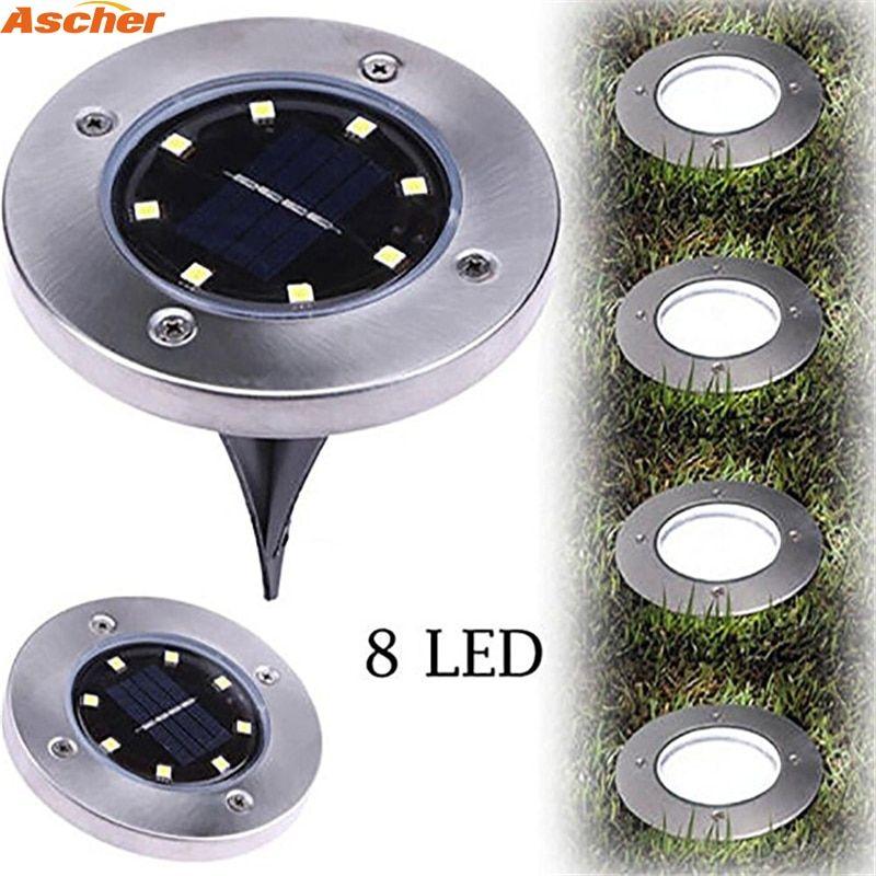1pcs Waterproof 8 Led Solar Outdoor Ground Lamp Landscape Lawn