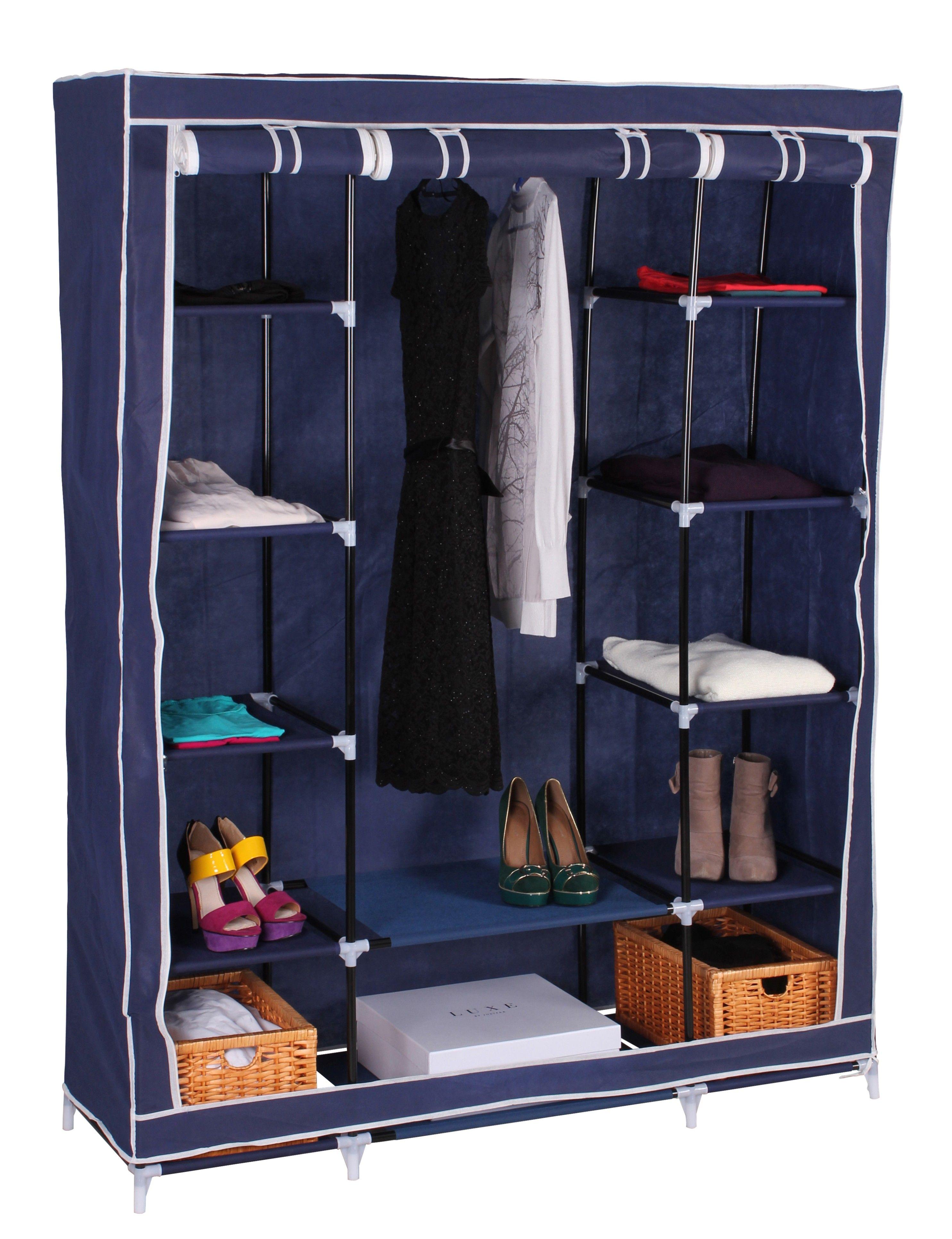 Textil Kleiderschrank Campingschrank mit Fächern Blau | Ambience ...