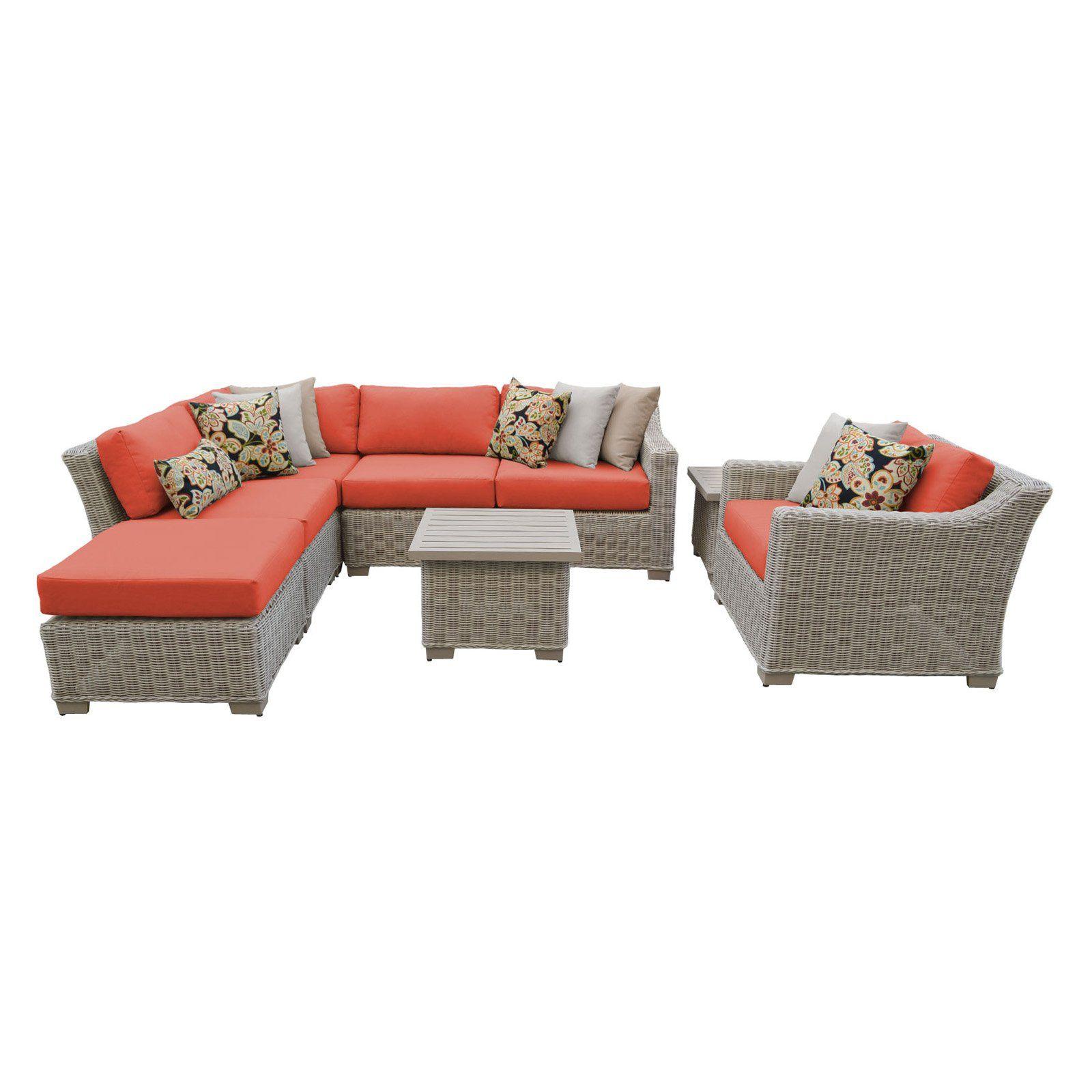 Outdoor Tk Classics Coast 8 Piece Wicker Patio Furniture Set With