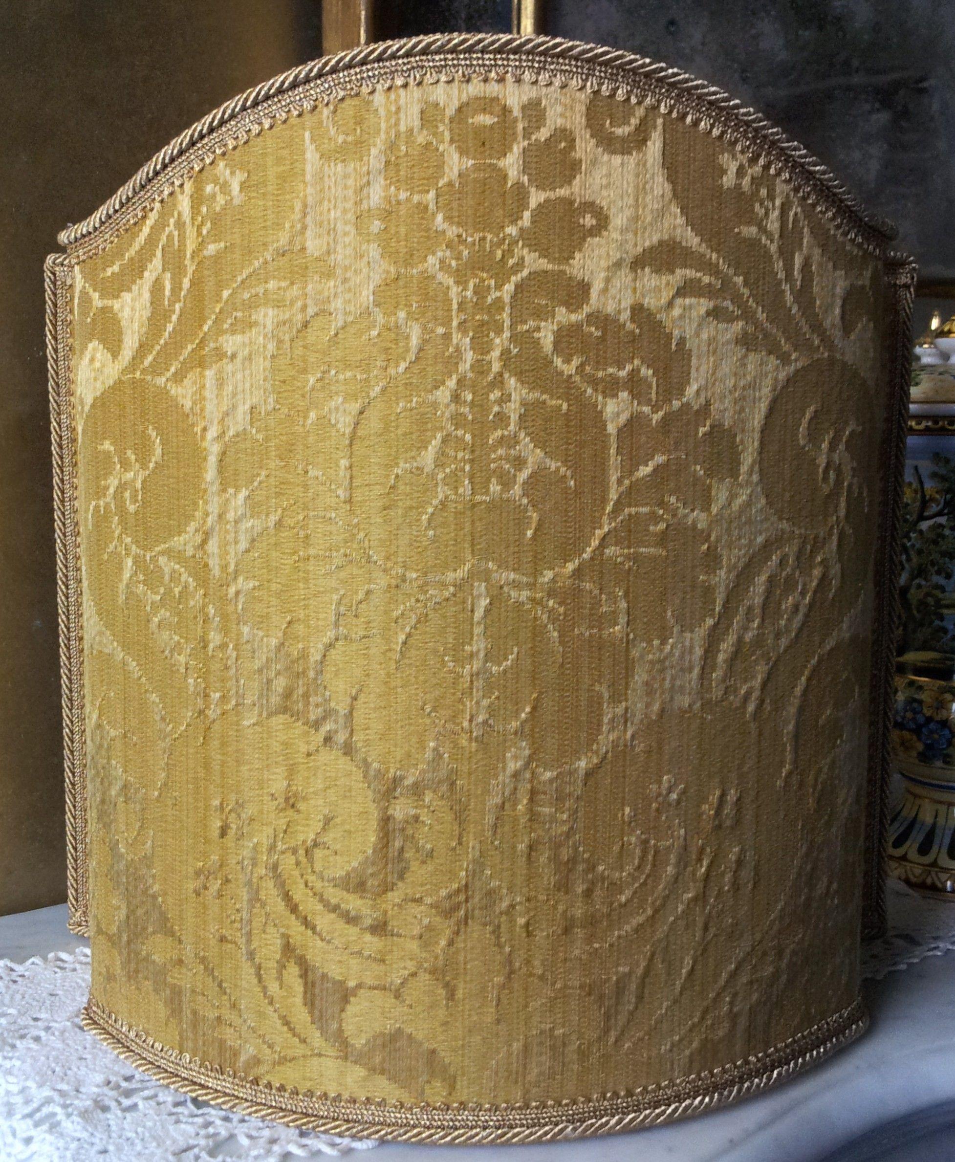 Paralume Ventola Artigianale in Tessuto Damasco Rubelli Ruzante Oro