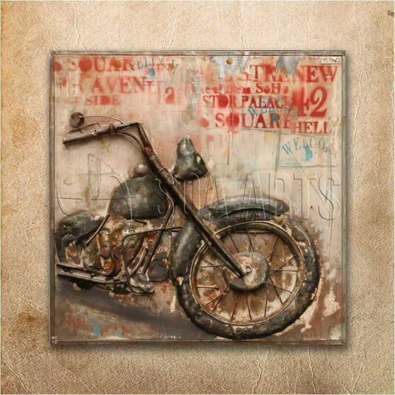 Rustic 3d Motorcycle Iron Wall Art For Home Decor - Buy Iron 3d Wall ...