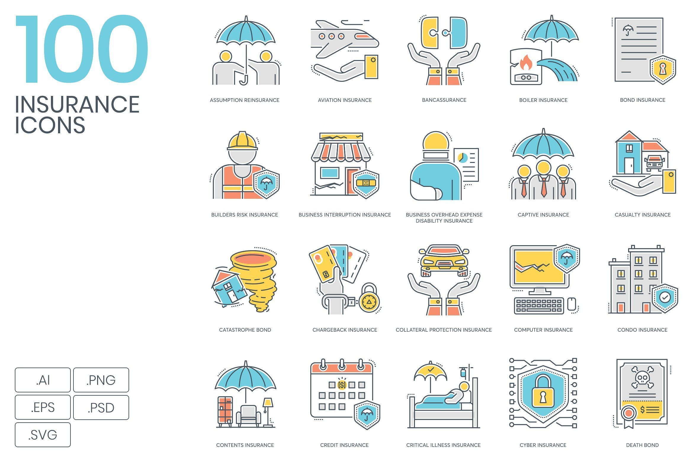 100 insurance color line icons insurance content