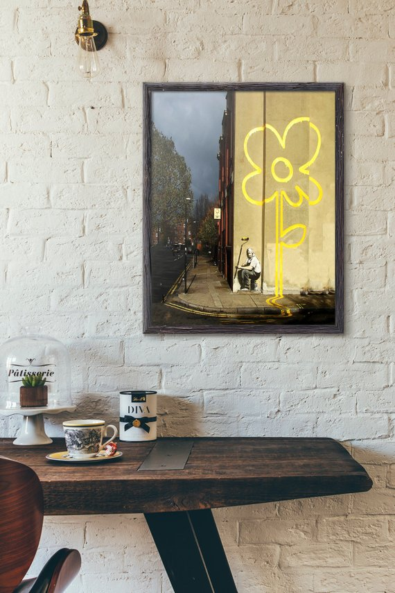 Banksy Yellow Lines Flower Posters - Art Graffiti Poster Street