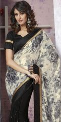Black Color Georgette Party Wear Sarees : Prunit Collection  YF-37749