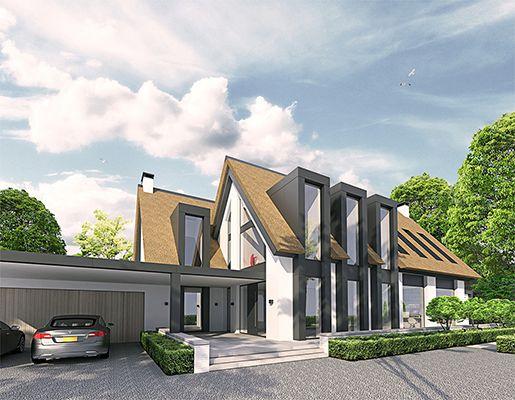 Modern landelijk villa woning huis architect zelfbouw kavel strak erker stuc riet rieten dak - Exterieur modern huis ...