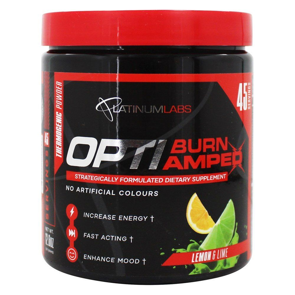 Opti-Burn Amped Thermogenic Dietary Supplement Powder Lemon & Lime – 12.6 oz.Platinum Labs