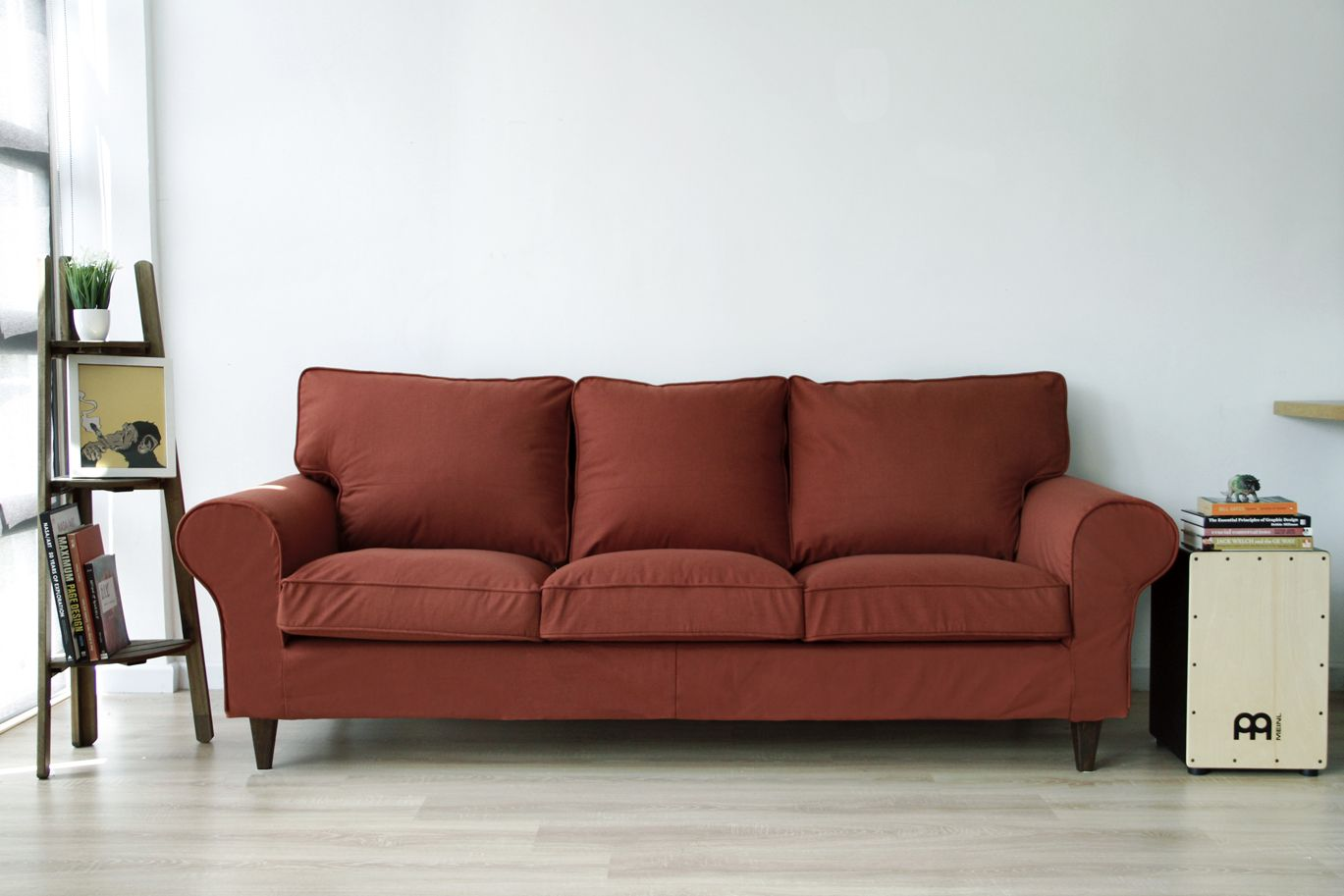 Rust Red Woollen Snug Fit Tailored Sofa Covers Made By Comfort Works, On An IKEA  Ektorp 3 Seater Sofa, With Replacement Custom Stained Walker Wooden Sofa ...