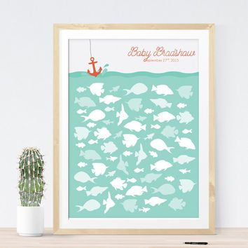 Baby Shower Guest Book Alternative With Fish For Nautical Baby
