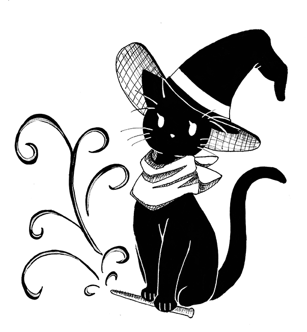 Inktober Day 3 Witch Cat Artist Firbetmakes Inktober Ink Witch Cat Art Wizard Black Stylistic Hogwarts Chall Witchy Pictures Cat Art Inktober