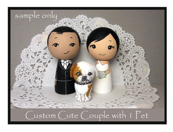 Custom Couple with 1 Pet Wedding Cake Toppers by licoricewits, $67.00