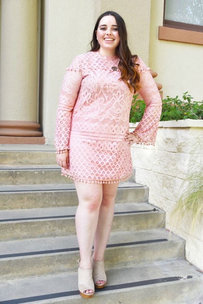 2b84f5e695 Pink Lace Pom Pom Dress under  25! Great spring dresses from SheIn ...