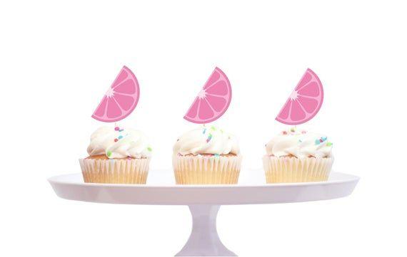 Pink Lemonade party topper - 12 Count pink lemonade cupcake topper #pinklemonade