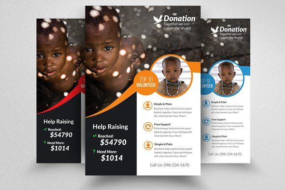 Charity Donation Flyer Template by Design Up on @creativemarket - donation flyer template