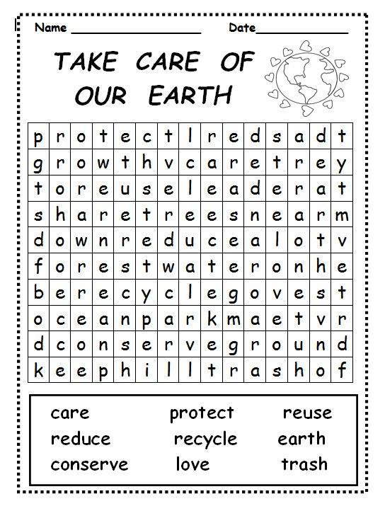 Take Care of Our Earth word search is great for use during Earth ...