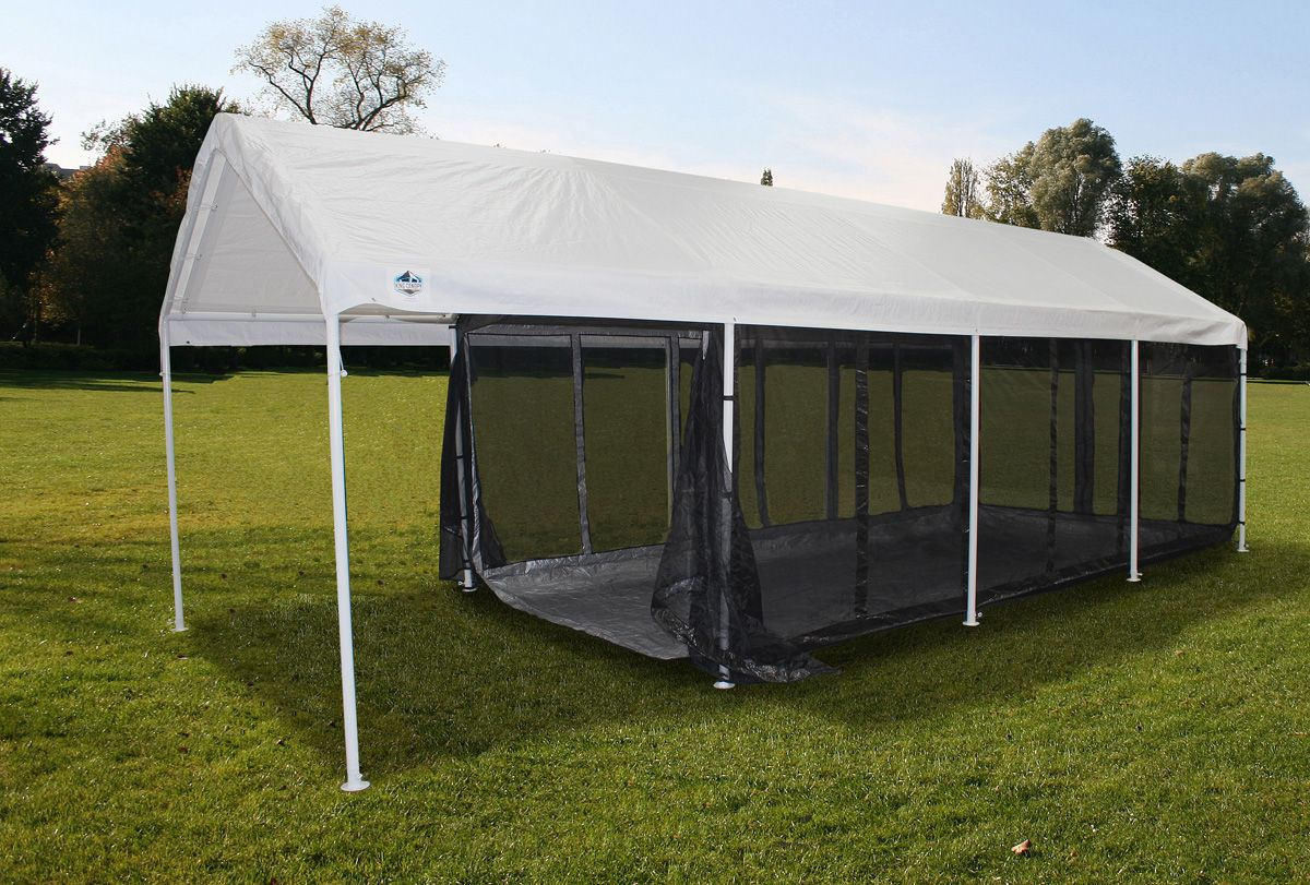 10x20 Fully Enclosed Canopy Screen Room Shown On A 10x27 Canopy Leaving A Covered Area At Front Of Canopy For Canopy Outdoor Backyard Canopy Portable Canopy