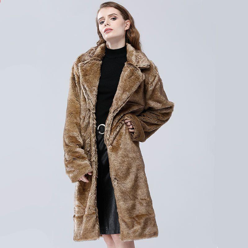 faux fur jacka grå