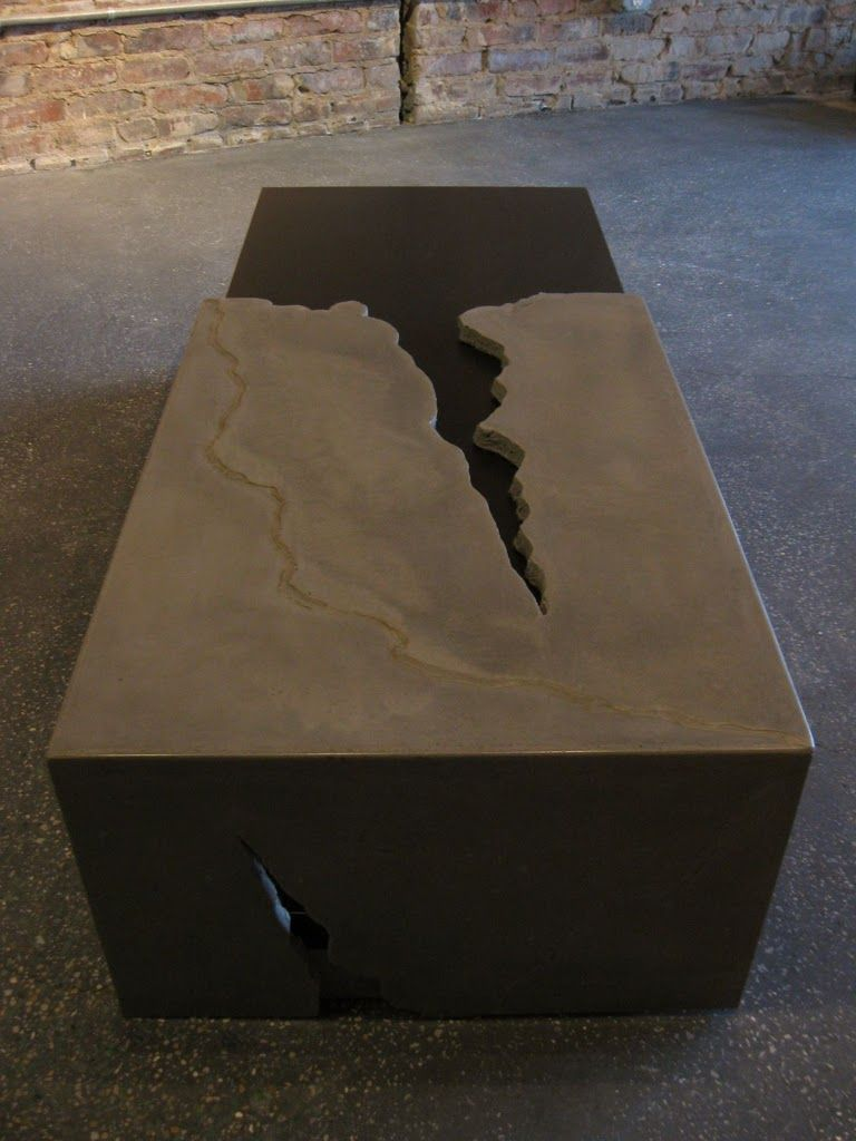 Slab concrete and wood coffee table with fissure detail buddy rhodes arq designers Concrete and wood furniture