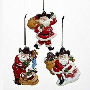 Cowboy Santa ornament set | Christmas ornaments, Western ...