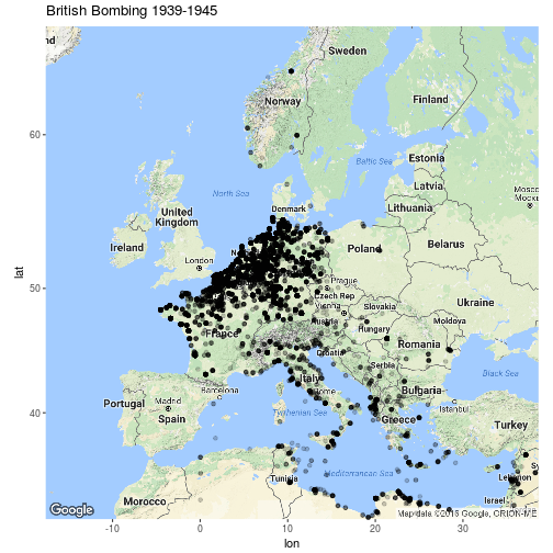 British Bombing Raids In WWII By Robert Hickman Map Europe Ww - Central europe map 1945