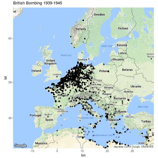 British Bombing Raids In WWII By Robert Hickman Map Europe Ww - Map of europe ww2