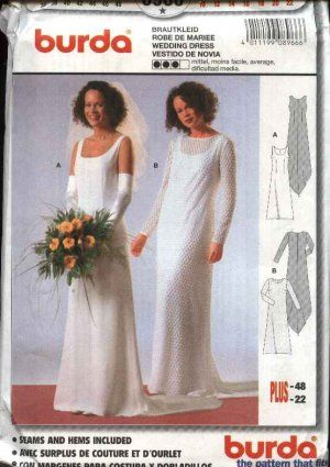 Burda Sewing Pattern 8966 Misses Sizes 10-22 Wedding Dress Bridal ...