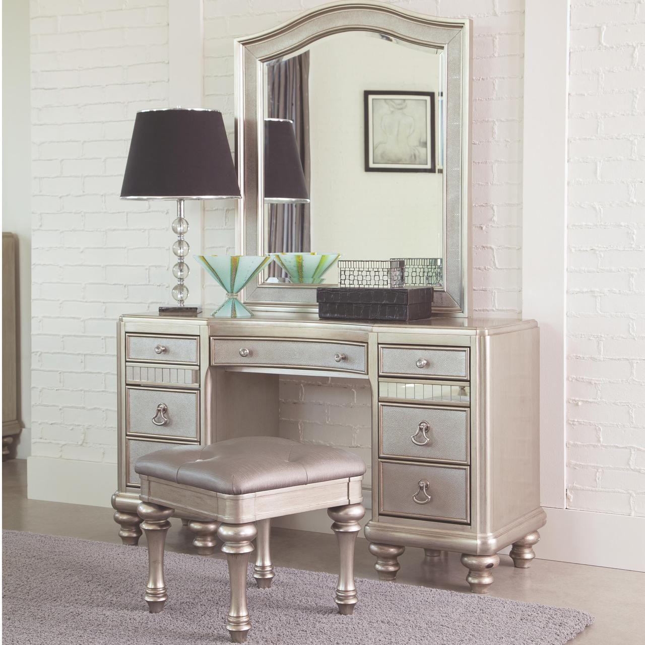 Lex Metallic Platinum Dressing Table Set Bedroom Vanity Set Bedroom Vanity Bedroom Makeup Vanity