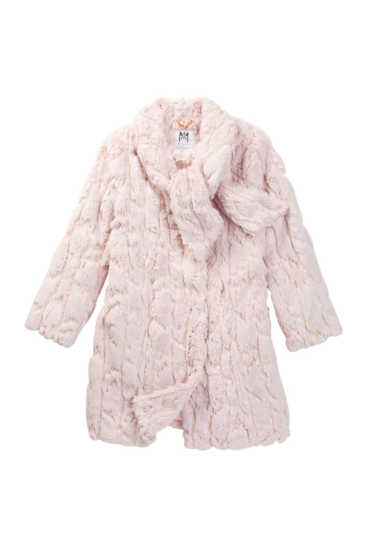 ab3b9adfb Tie Neck Faux Fur Coat (Little Girls)