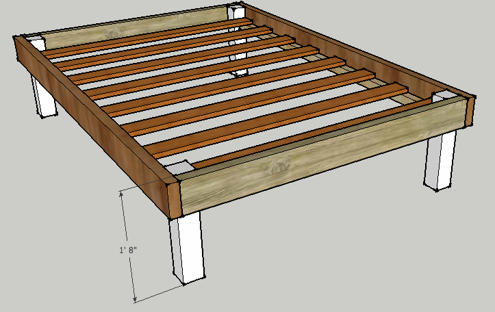 Simple queen bed frame by luckysawdust lumberjocks for Simple diy platform bed