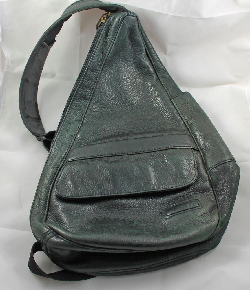 Ll Bean Ameribag Black Leather Healthy Back Backpack Sling Bag Handbag Purse