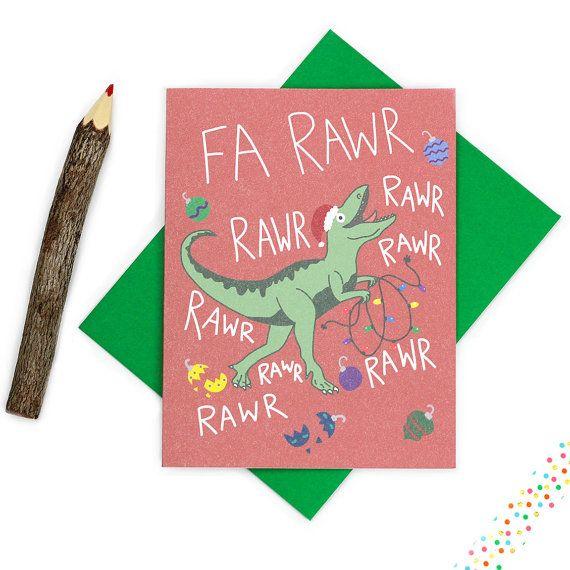 Funny Christmas Card Dinosaur Christmas Card Fa Rawr Rawr paper