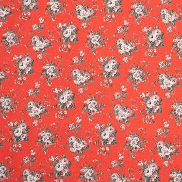 Beige Flame Red Rose Printed Cotton Voile Cotton Voile Fabric Mood Fabrics Red Roses