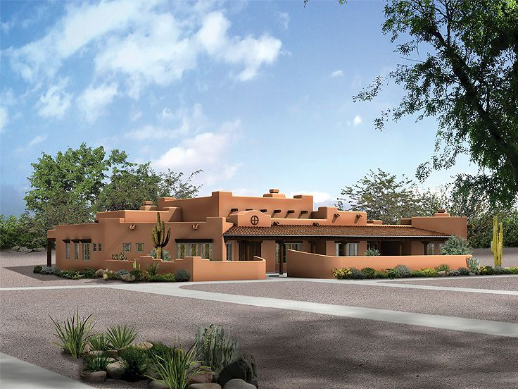 057h 0038 luxurious adobe house plan features southwest flair - South West Adobe Home Plans