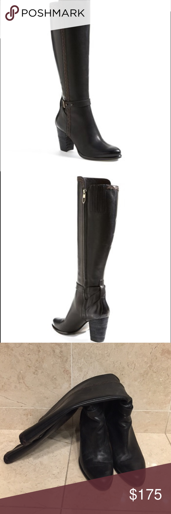 """Ugg Australia 'Claudine' Tall Boot Full-grain leather shapes a striking riding boot crafted with a sleek ankle strap and contrasting whipstitch trim for a hint of rustic flair. 3 1/4"""" heel  17"""" front boot shaft, 16"""" back boot shaft; 15"""" calf circumference. Side zip closure. Leather upper/leather and UGGpure™ textile lining/leather and rubber sole. By UGG Australia; imported. Worn a few times. See pictures for bottom of shoe. In great condition. UGG Shoes Heeled Boots"""