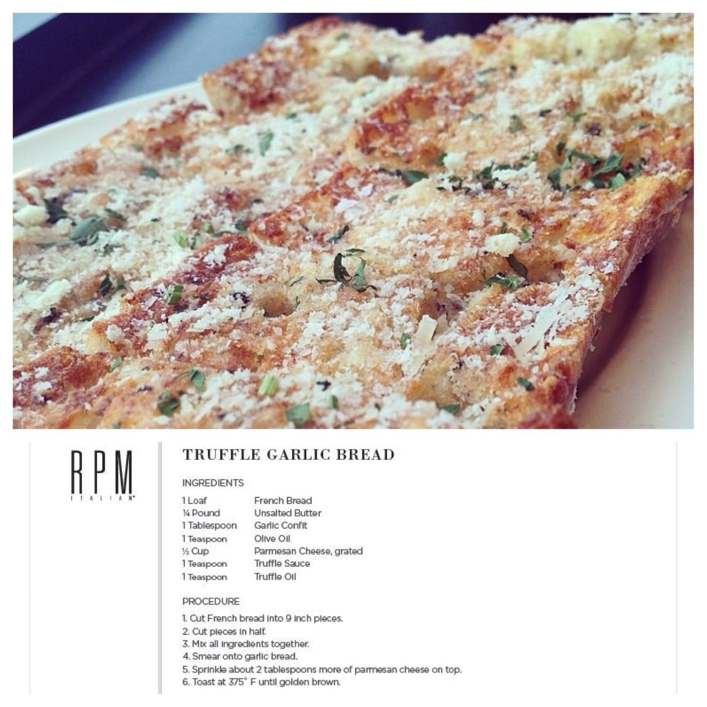 Truffle garlic bread recipe from rpm italian restaurant in chicago dishes forumfinder Image collections
