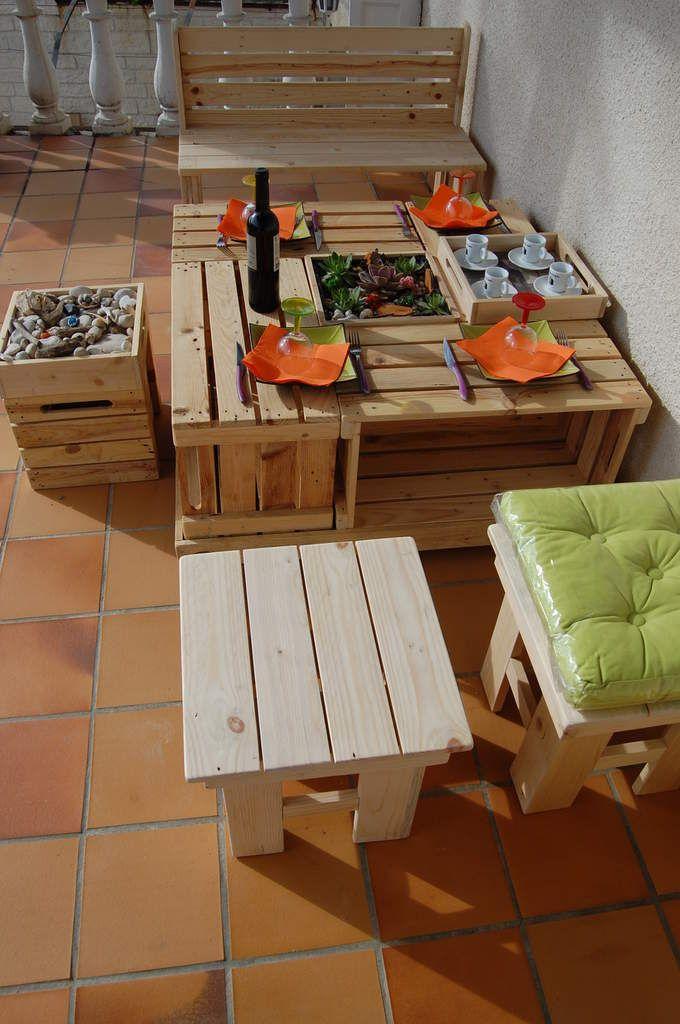 salon de jardin 10 elements tout en bois de palette - Table De Jardin En Bois De Palette