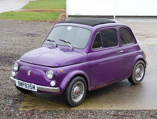 Purple Fiat 500 So Cute With Images Purple Car Fiat 500