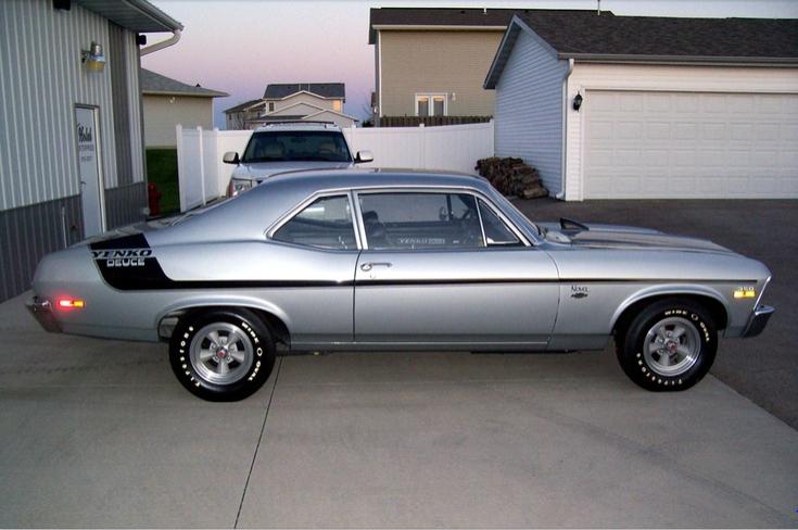 1970 Chevrolet Nova Yenko Deuce 350 Cid 370 Horsepower Small Block Lt1 Option Code Silver With Black Stripe Muscle Cars Chevy Muscle Cars Classic Cars Muscle