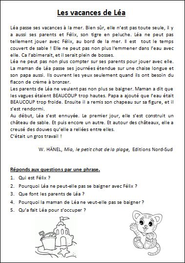 Comprehension De Textes Courts Ce1 L Ecole De Lilai Lecture Comprehension Ce1 Lecture Comprehension Ce2 Comprehension De Lecture