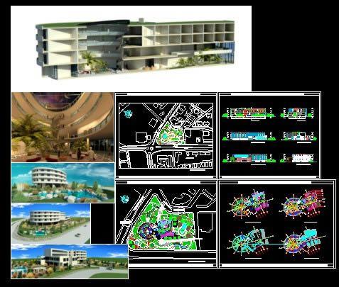Plan Hotel avec vue 3D en DWG AutoCAD and Architecture - Logiciel De Maison 3d