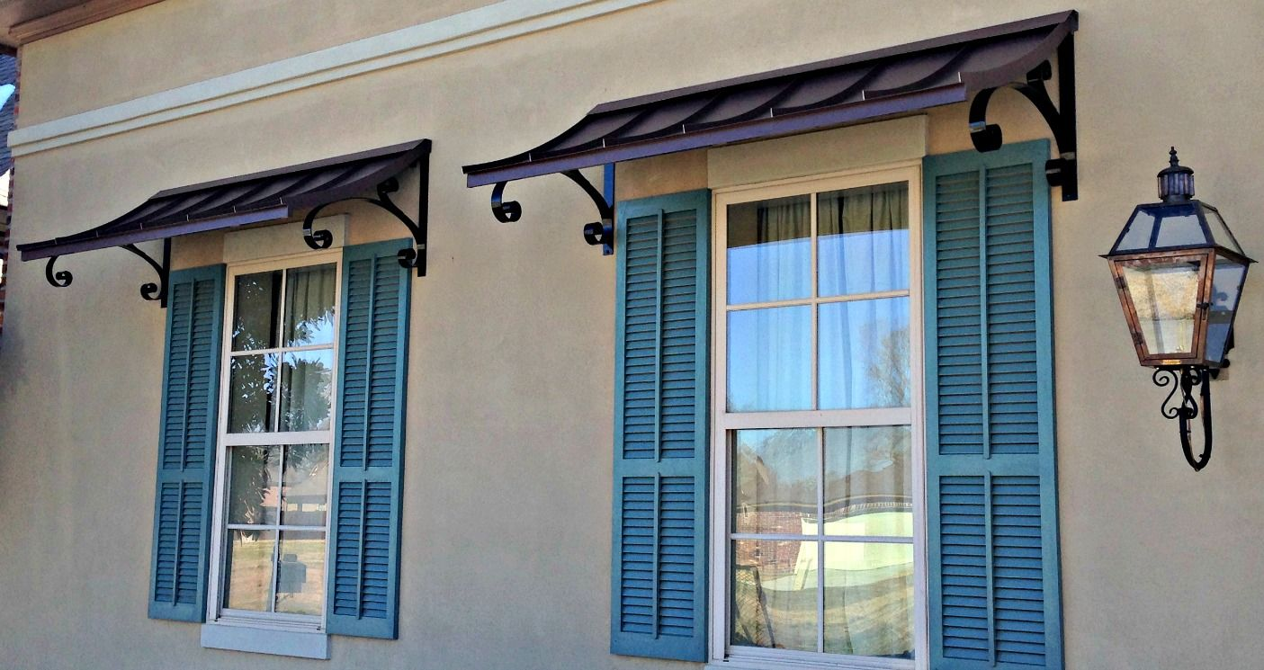 Small metal awning over door we build on your for Glass awnings for home