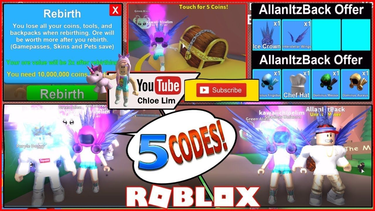 Roblox Mining Simulator! 🍔🍞 FOOD My Rebirth, VIP and 5 CODES! See