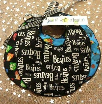 Baby Drool Bib Trio 3 pack  The Beatles Black and by landofsparkle, $15.00